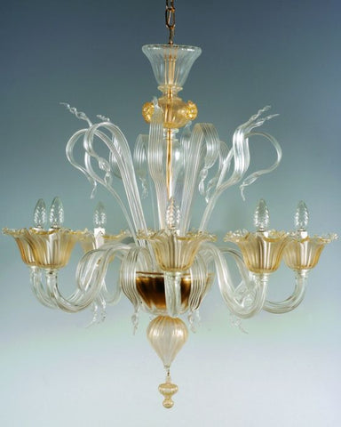 Murano 6 arm clear glass chandelier with golden details