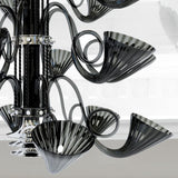 Gorgeous 3 tier black Murano glass chandelier with chrome frame