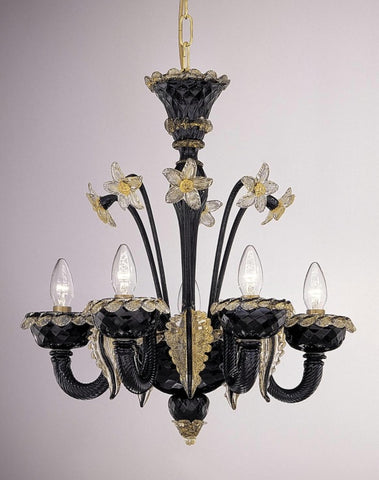 Black and gold Murano glass chandelier