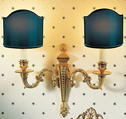 Double Italian classic wall light with choice of shade colour