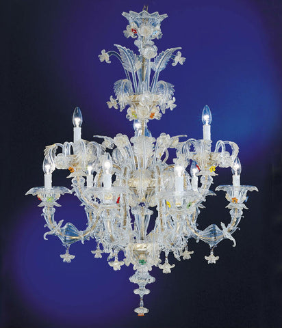 Murano glass multi-coloured floral chandelier