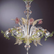 Murano Chandelier with coral and green flowers