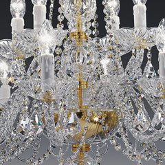 Italian lead crystal chandelier with 12 lights on 2 tiers