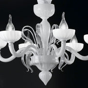 Small white Murano glass 6 light 'Epoque' chandelier