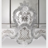 Ornate Venetian mirrored sideboard with Murano glass flowers