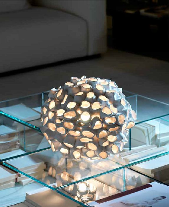 Bespoke modern white ceramic spherical table lamp