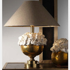 Chic table lamp with majolica curls and silk linen shade