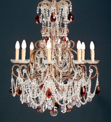 Antiqued wooden chandelier with Bohemian and amber crystals