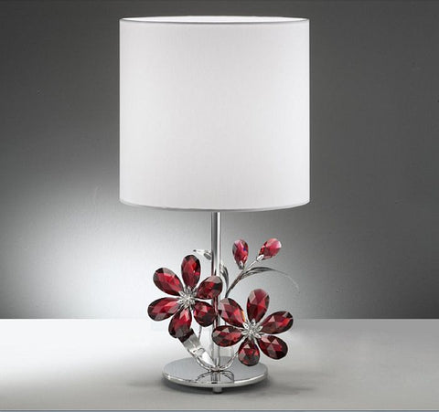 Table lamp with red Swarovski Strass crystal flowers