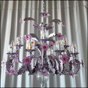 Silver and Amethyst Glass Chandelier with Murano Glass Flowers