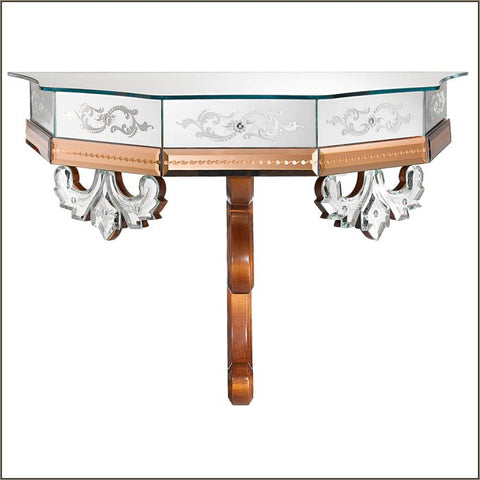 French-style  console table with pink Venetian mirror glass