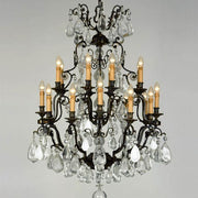 20 Light Bronze Chandelier with Crystals