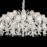 2.2 metre-wide white Italian glass chandelier with shades