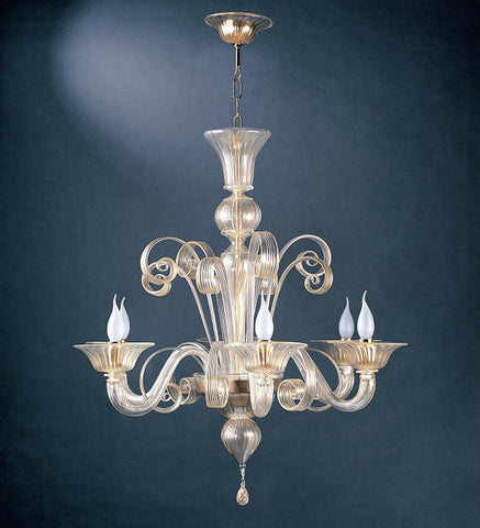 Murano glass chandelier with 24 carat gold decoration