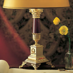 Red Laguna marble table light with 24 carat gold plate