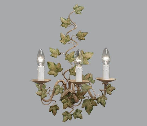 Gold Metal Triple Lamp Wall Light with Green Ivy