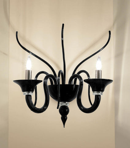 Black Italian glass wall chandelier in the Venetian style