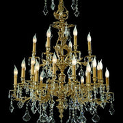 24 light gold-plated chandelier in the Rococo style