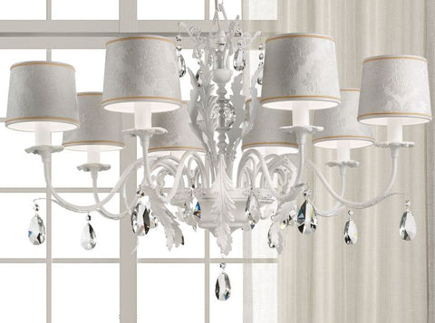 All-white luxury chandelier with Swarovski crystals