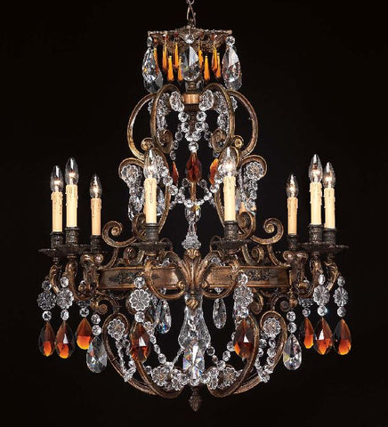10 light French gold chandelier with crystals