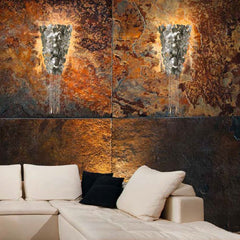 Silver or brown corten steel wall light with Swarovski crystals