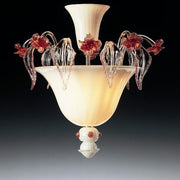Milk white Murano ceiling light wirh ruby flowers