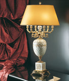 Classic Italian lamp with white shell and grey agate mosaic