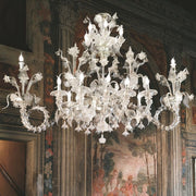 Wide Murano glass chandelier in the 18th century Rezzonico style