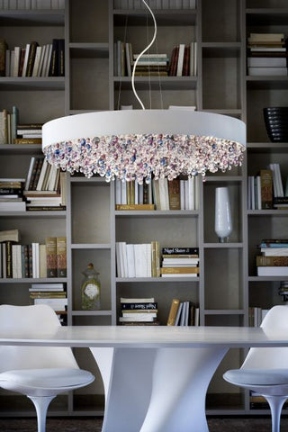 Modern ceiling pendant with blue and pink crystals