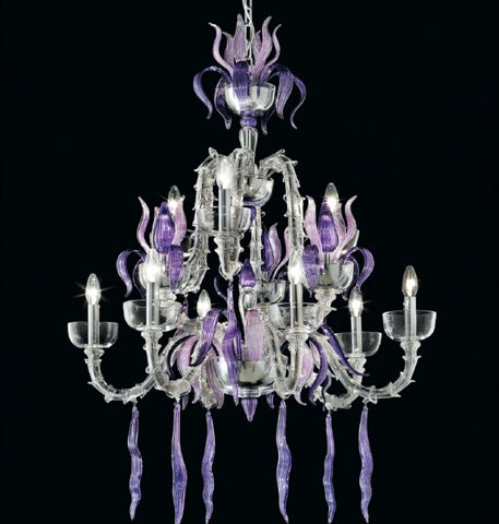 Purple and clear glass Rezzonico chandelier