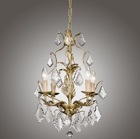 Gold Metal Chandelier with Hanging Glass Crystals