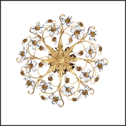 Gold ceiling light with gold and glass flowers