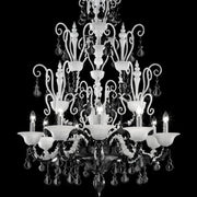 Diamantei black & milk white Murano glass chandelier from Venini