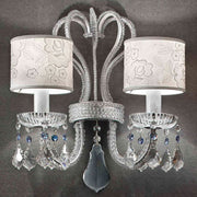 Italian crystal wall light with white lace shades