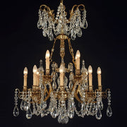 12 Light French Gold Chandelier with Hand Cut Bohemian Crystals