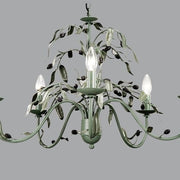 Green Metal Five Lamp Chandelier with Olive Design
