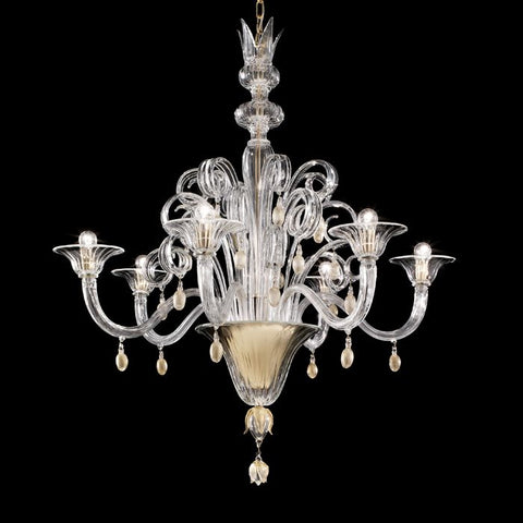 The Vittoriale large Murano glass chandelier from Venini