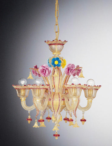 Multicoloured Murano glass chandelier with 6 lights and flowers