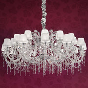 24 Light Cut Crystal Chandelier with organza shades