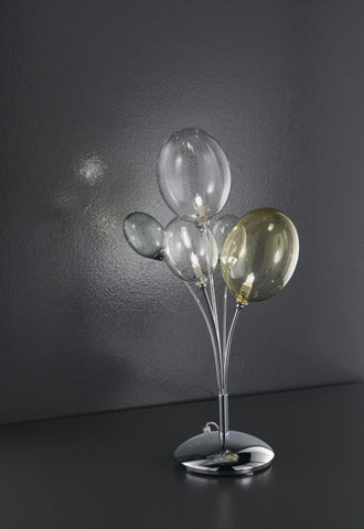 Modern table light with coloured glass balls