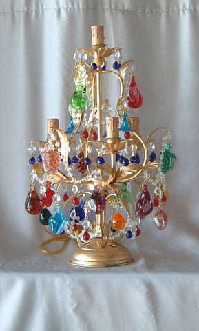 Murano glass fruit table lamp