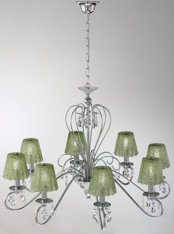 Green glass and Swarovski crystal 9 light chandelier