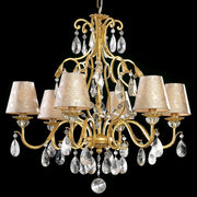 Bohemian crystal chandelier with damask shades