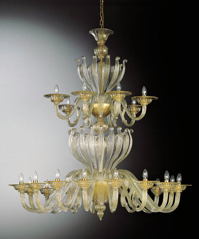 24 light gold crystal Murano Chandelier
