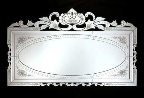 Large rectangular Venetian wall mirror with bevelled edges