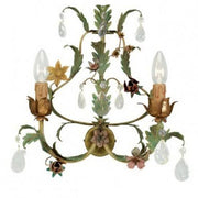 Traditional Metal Sconce with Flowers and Glass Crystals