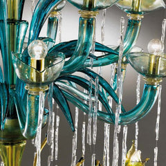 Eclectic custom clear, green and aqua Murano glass chandelier
