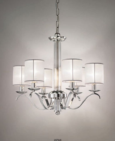Elegant modern chandelier with choice of finish and shade colour