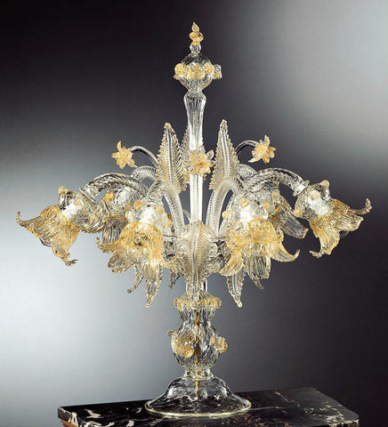 Venetian glass Flambeau lamp with flower decoration