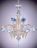 Murano glass chandelier with blue flowers